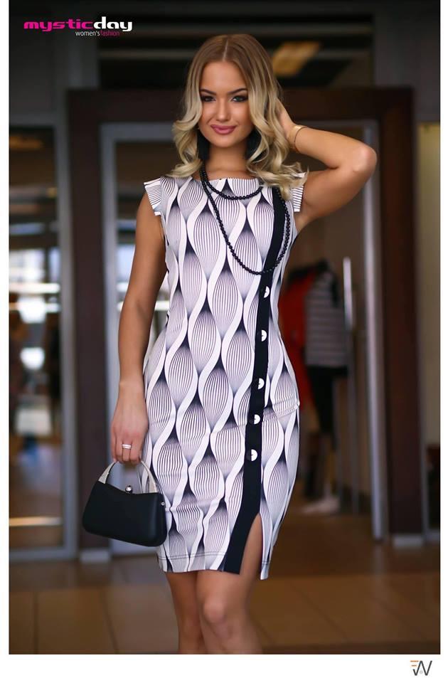 b1b56ce819 Mystic Day női ruha fekete-fehér M-XXL – GYERMEKRUHASHOP